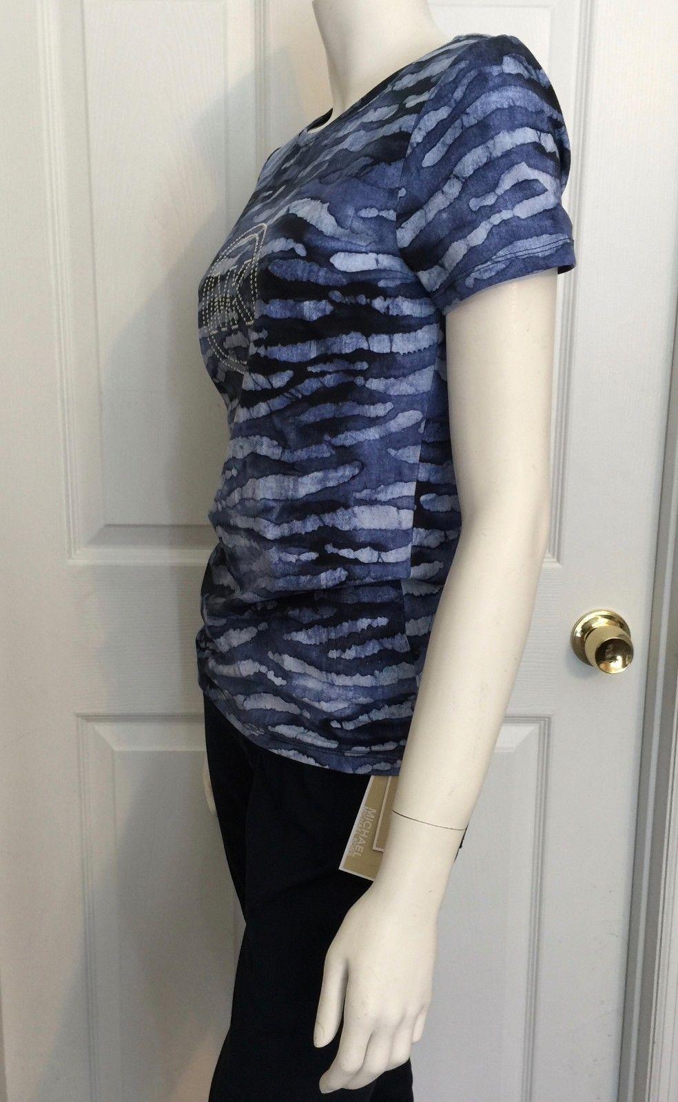 New Michael Kors Silver Studs Logo Crew Neck T-shirt Casual Top Indigo Blue $59
