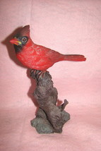 Beautiful Red Cardinal Perched on Tree Branch Collectible Figurine - $22.99