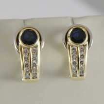 18K YELLOW WHITE GOLD CLIPS EARRINGS WITH SAPPHIRES AND DIAMONDS MADE IN ITALY image 1