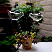 2pcs Bird Shape Hand Blown Clear Glass Self Watering Durable Mini Transp... - $10.15