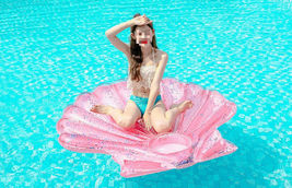 """Seashell Inflatable Pool Rafts Ride Ons Floats Swim Tube for Adults 55.1"""" (Pink) image 3"""