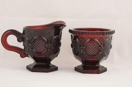 Avon Cape Cod Ruby Red Gothic Creamer & Sugar Bowl - $9.95