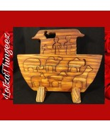 Primitive Rare Real Wooden Noah's Ark Animals People Stand Puzzle - $29.69