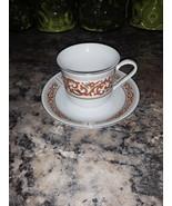 VTG Gold Rim Orange Floral Pattern China Cup and Saucer Set - $24.99