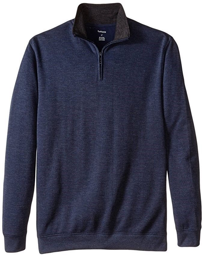 Van Heusen Men's 1/4 Zip Sweater French Ribbed Pullover Blue