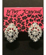 Betsey Johnson Silver Alloy White Clear Crystal Flower Lever Back Post Earring - £5.81 GBP