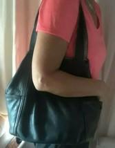 Authentic COLE HAAN Leather Tote Bag Large Black Handbag Purse Satchel - $37.02