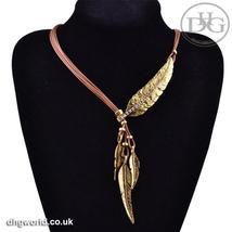 MEYFLINN Elegant Feathers Theme Ladies Necklace / Choker, Leather, CZ image 3