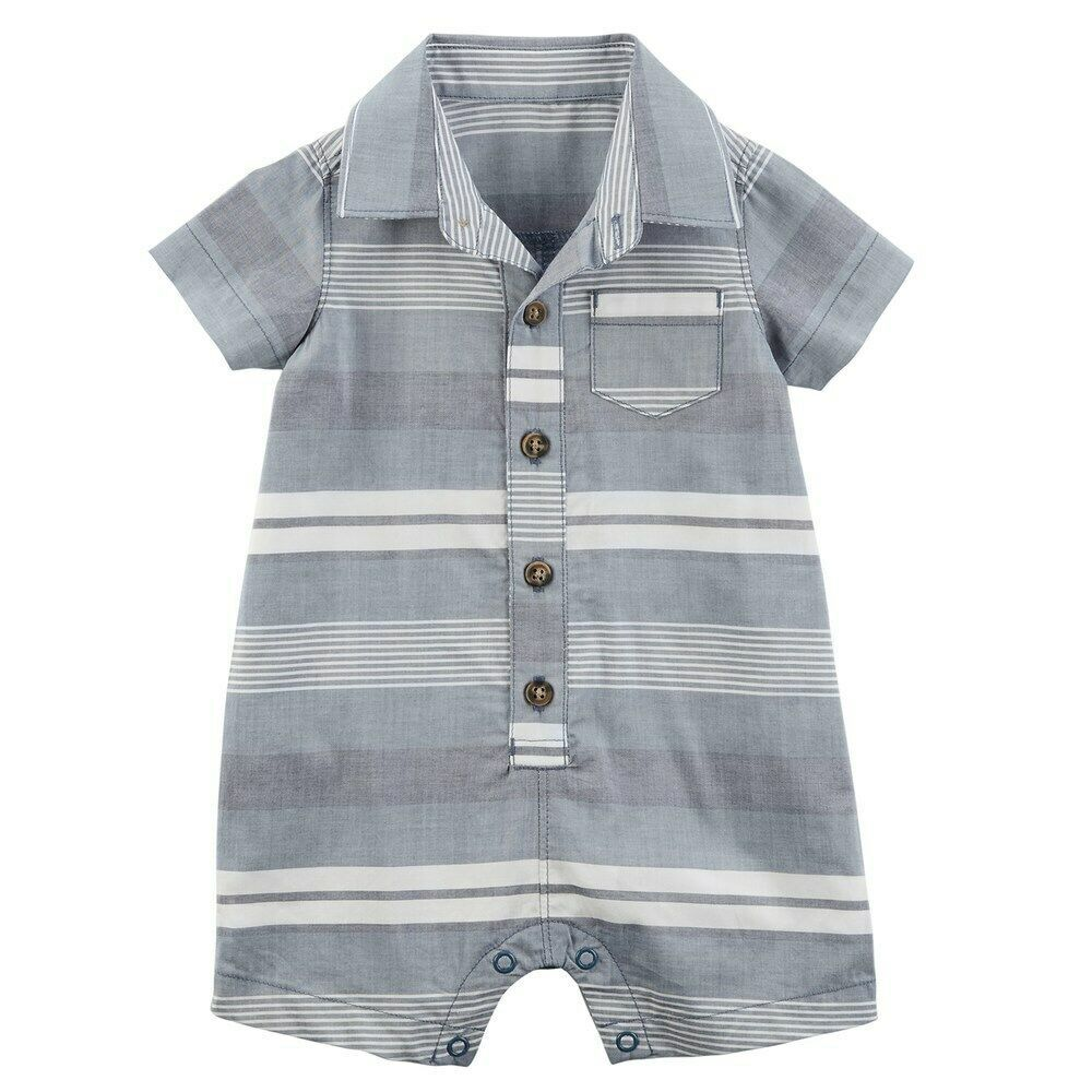Primary image for Carter's Baby Boy Striped Woven Romper One-Piece - New Born