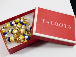 Talbots Nautical Marine Wheel necklace Yellow White Blue Lucite gold ton... - $41.58