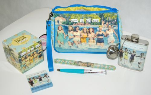Anne Taintor Vintage Revisited Born To Be Wild Cosmetic Bag Set Includes 6 Items