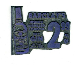 Barclay's Double Distilled London Dry Gin  Metal Advertising Plate  1950's - $14.89