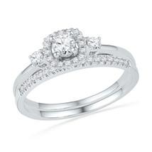 10k White Gold Round Diamond Halo Bridal Wedding Engagement Ring Set 1/2... - £540.44 GBP