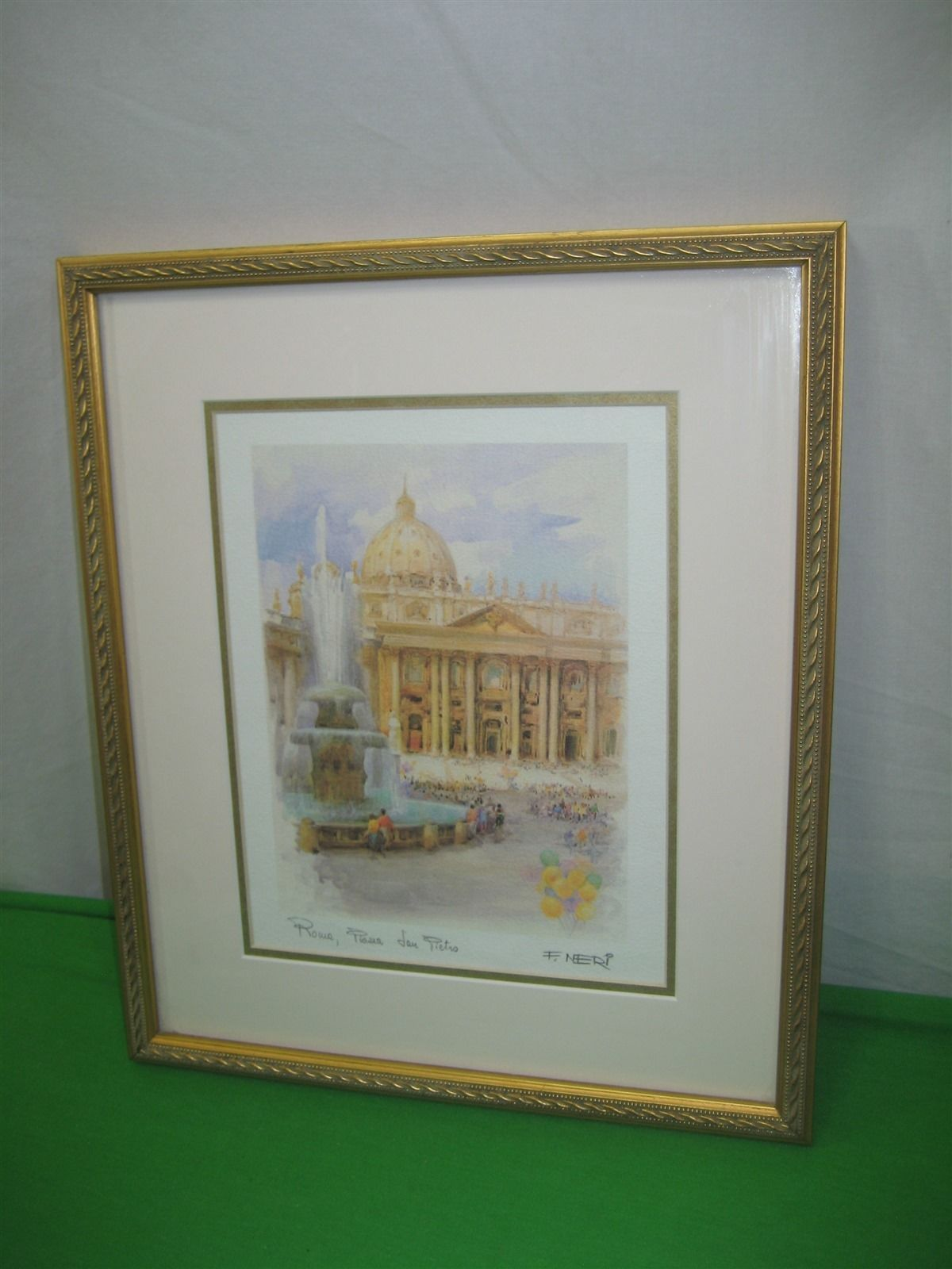 Watercolor Print By F. Neri Rome Italy San Pietro Wood Frame Glass Covered