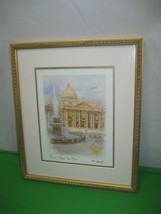 Watercolor Print By F. Neri Rome Italy San Pietro Wood Frame Glass Covered - $19.75