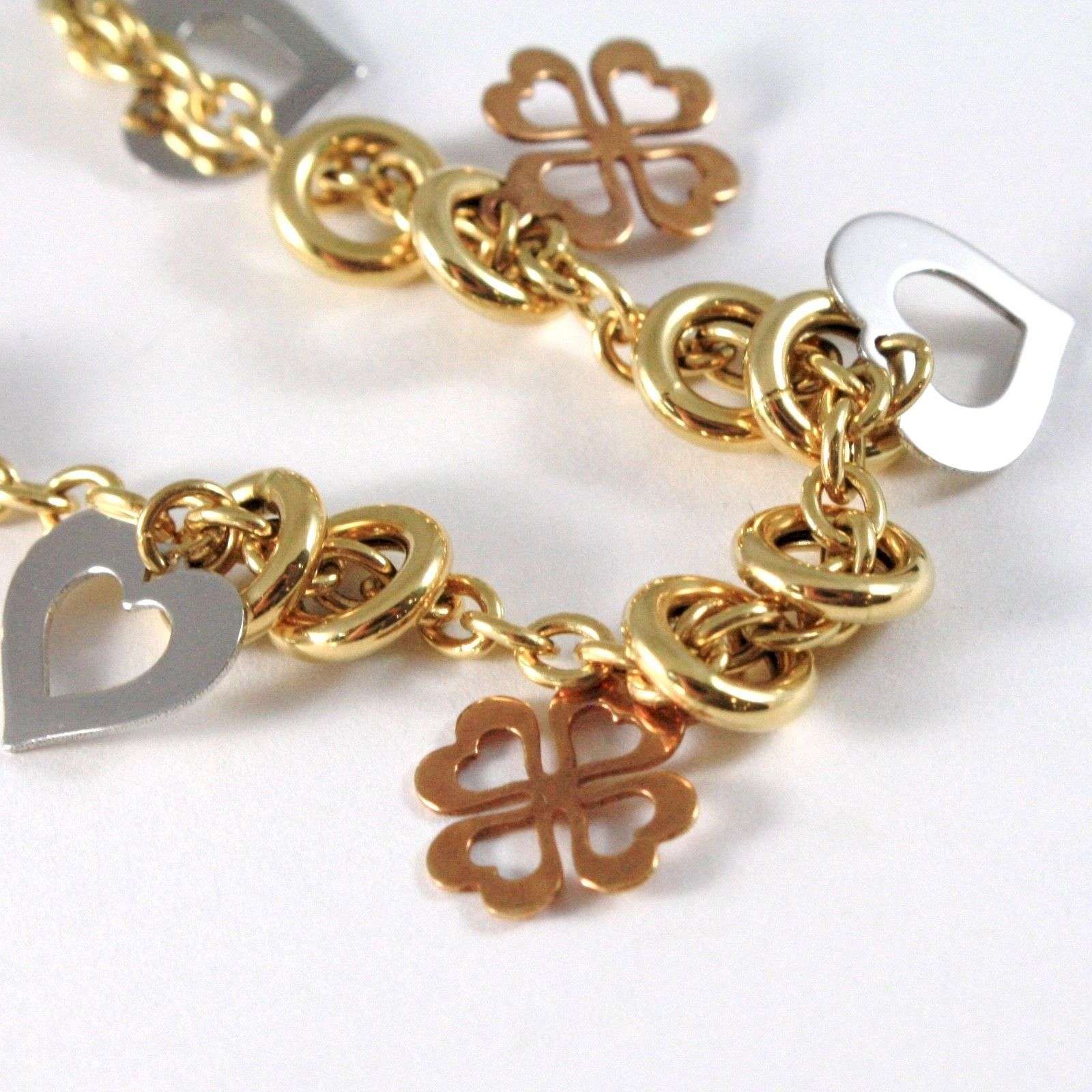 Gold Bracelet Yellow White Pink 18K 750, Circles, Four-Leaf Clover & Hearts, Cmd image 4