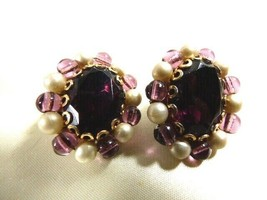 Vtg W Germany Purple Faceted Stone Pearl Faux Beads Gold Tone Clip On Earrings - $27.72