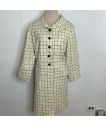 Vintage 50s 60s Mid Length Wool Blend Coat Lined Cream Yellow Blue Plaid... - $64.32