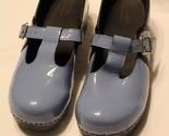 EUC Sanita Women's Blue Patent Leather Mary Jane T-Strap Clogs Nursing Shoes 41