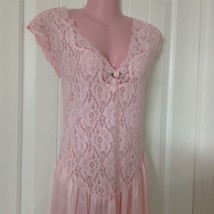 Vtg Quiet Moments Nightgown Women's Large Pink Stretch Floral Lace - $29.69