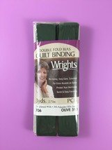 Wrights Olive 590 Double Fold Bias Quilt Binding 3 Yds Nip - $3.76