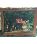 vintage horse and buggy days wood  framed print by Paul Detlefsen countr... - $69.25