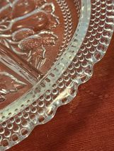 "Relish Dish Vintage Candy Fruit Three Compartment 8 1/2"" dia Clear Glass 1960's image 6"