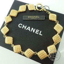 Auth Chanel Vintage Gold Square Necklace - $341.50