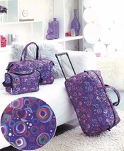 Purple Print Luggage Set Suitcase Rolling Spinner 3 Pce Lightweight Whee... - $33.89