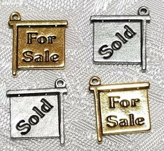 FOR SALE / SOLD SIGN FINE PEWTER PENDANT CHARM - 13.5x15x1.5mm