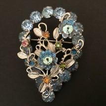Vtg Baby Blue Rhinestone Silvertone Textured Leaves Brooch - $17.82