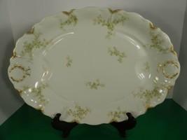 Haviland Limoges Schleiger 67 Large Turkey Meat Platter Gold Daubs Green... - $49.45
