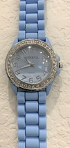 New ladies' Geneva rhinestone bezel silicone band light blue quartz wristwatch - $19.80