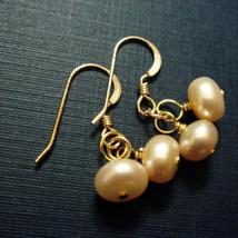 Peach Pearl Gold Earrings - Matching Bridal Set - $25.00+