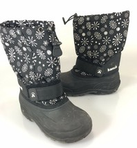 Kamik Little Kid 2 Winter Snow Boots Black White Snowflakes Felt Lining - $32.83