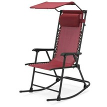 Folding Rocking Chair with Pillow and Canopy Red Outdoor Lawn Patio Furn... - $79.19