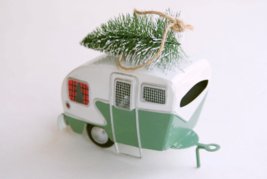 Pottery Barn camper with bottlebrush tree Christmas ornament - $18.99