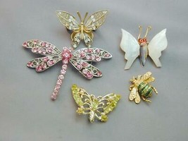 5 Bee Bug Butterfly Dragonfly Pins 800 Silver MOP Rhinestone - $29.99