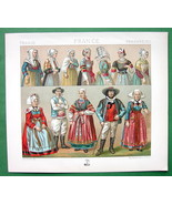 BRITTANY France Costume Married Women Bonnets - Color Antique Print by R... - $14.85
