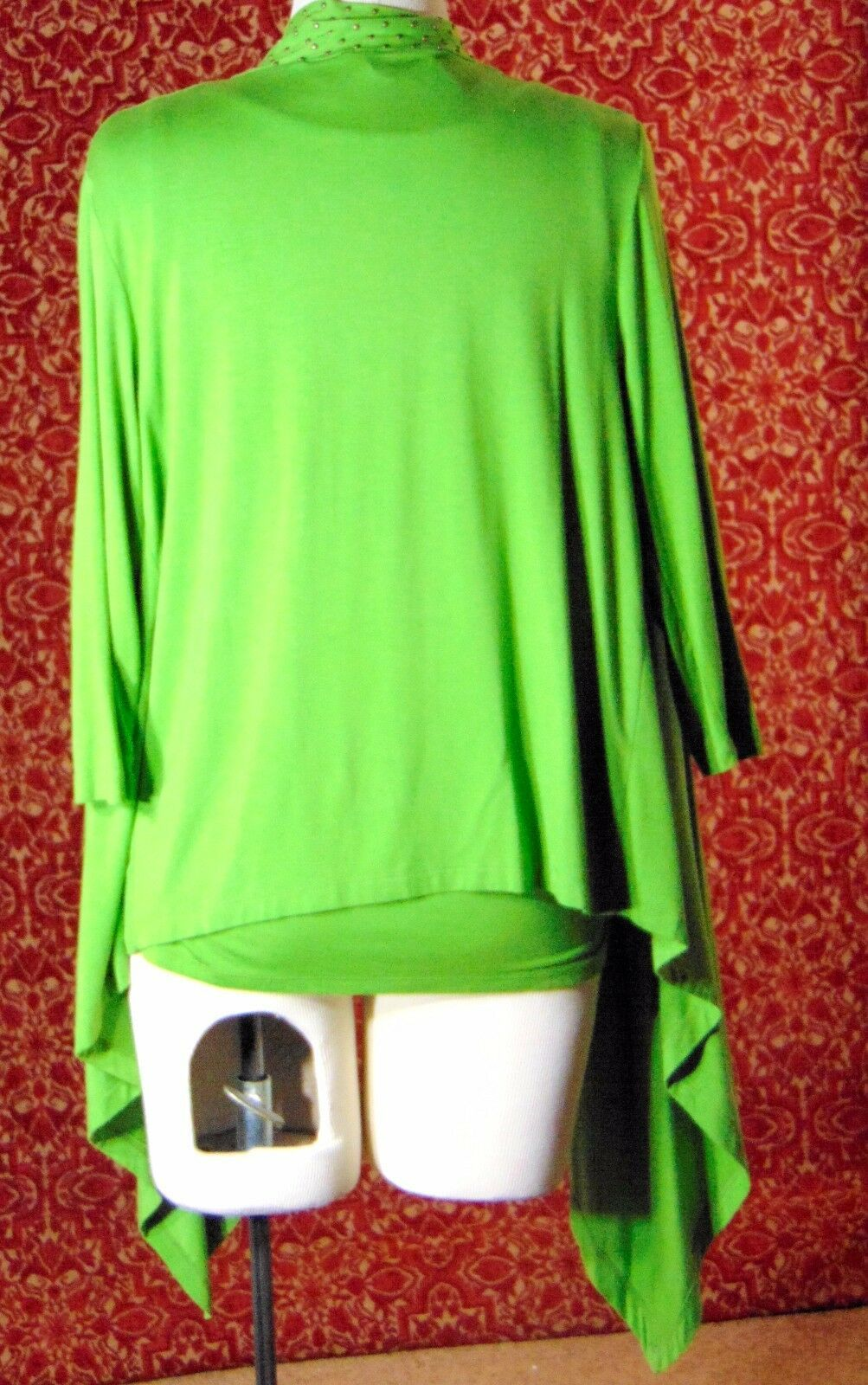 ETOILE green 2 piece stretch rayon tank blouse & sweater jacket M (T47-02I8G) image 6