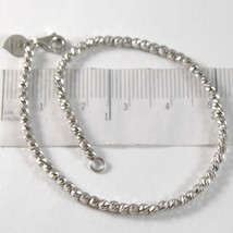 White Gold Bracelet 750 18k with Balls, Spheres Faceted, Heart, 18 cm image 1