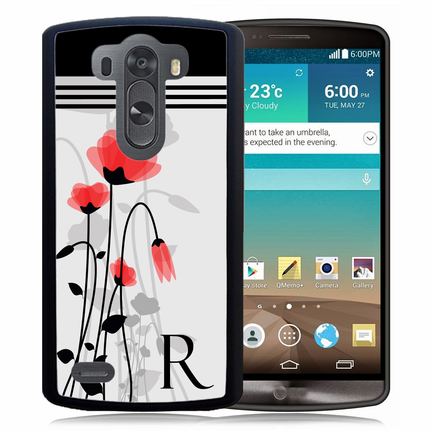 PERSONALIZED RUBBER CASE FOR LG G6 G5 G4 G3 RED BLACK FLOWERS