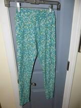 LuLaRoe Teal Floral Print Leggings Size Tween EUC - $20.54