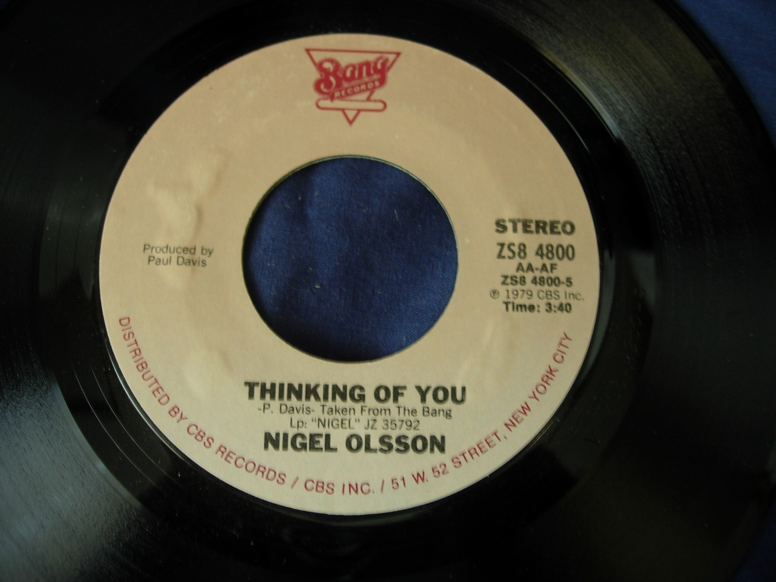 Nigel Olsson - Little Bit of Soap / Thinking of You - Bang Records ZS8 4800