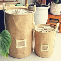 Fypo® Storage Basket Natural Jute Dirty Cloth Collect Bag Laundry Bag Ba... - $12.04+