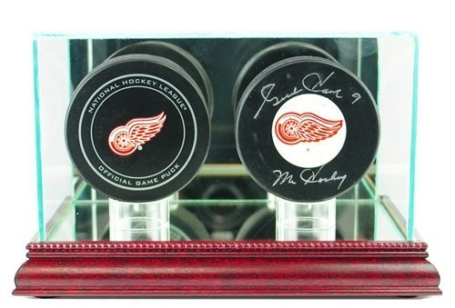 Hockey Puck Glass Double Display Case with Cherry Base