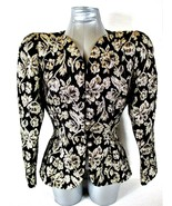 STEVEN STOLLER WOMENS  Sz.12  LONG SLEEVE BLACK GOLD METALLIC THREAD JAC... - $59.88