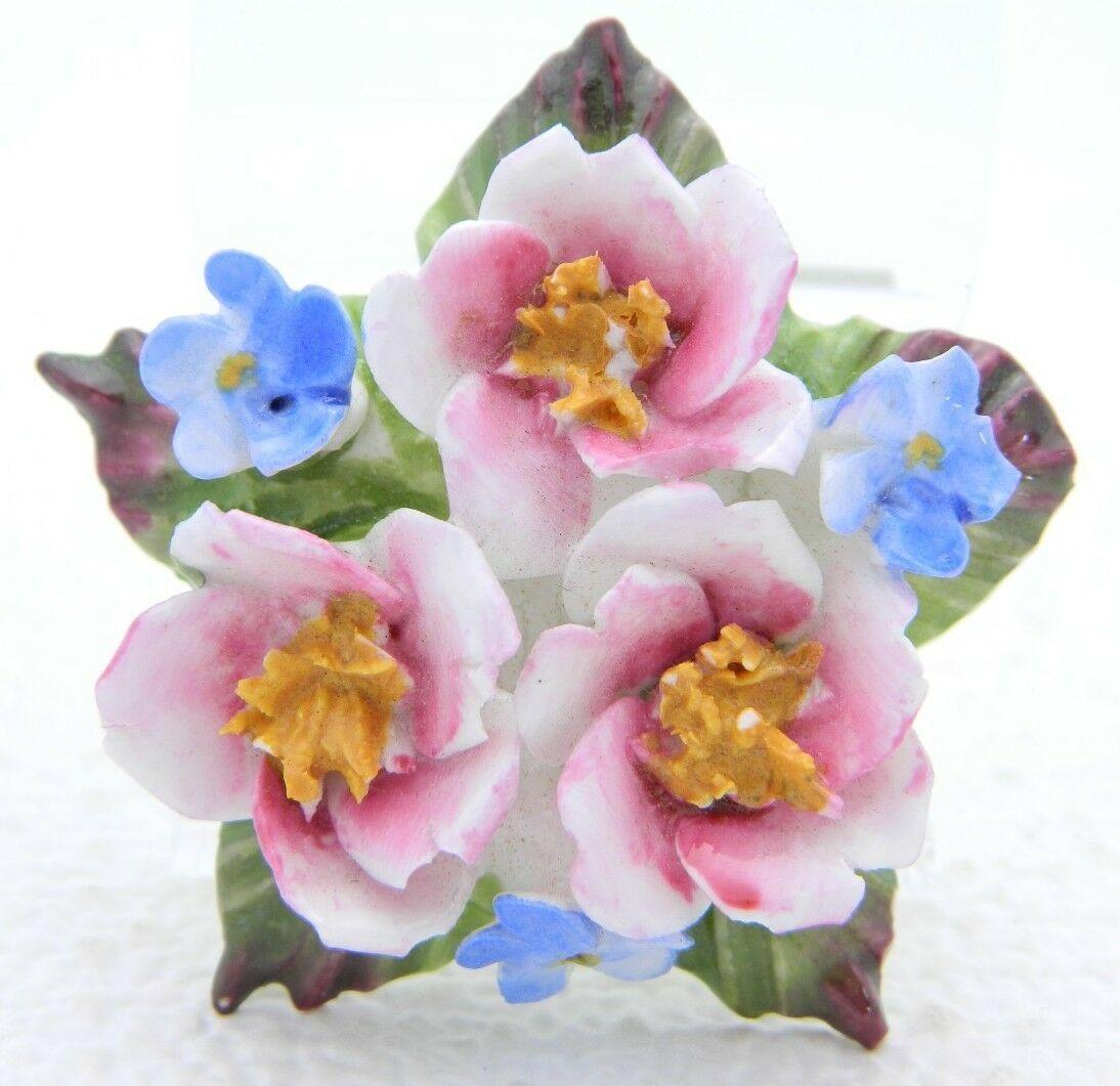 Primary image for VTG AYNSLEY Fine Bone China ENGLISH Porcelain Flower Cluster Pin Brooch