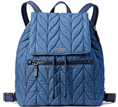 BNWTS Kate Spade Ellie Large Flap BLUE Denim Backpack SUPER CUTE  - $148.49
