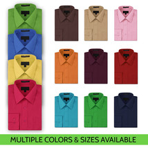 NEW Omega Italy Men's Dress Shirt Long Sleeve Solid Color Regular Fit 10 Colors